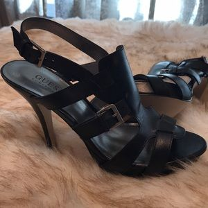 NEW IN BOX Sz 8.5 Guess Black Leather 4inch Heels